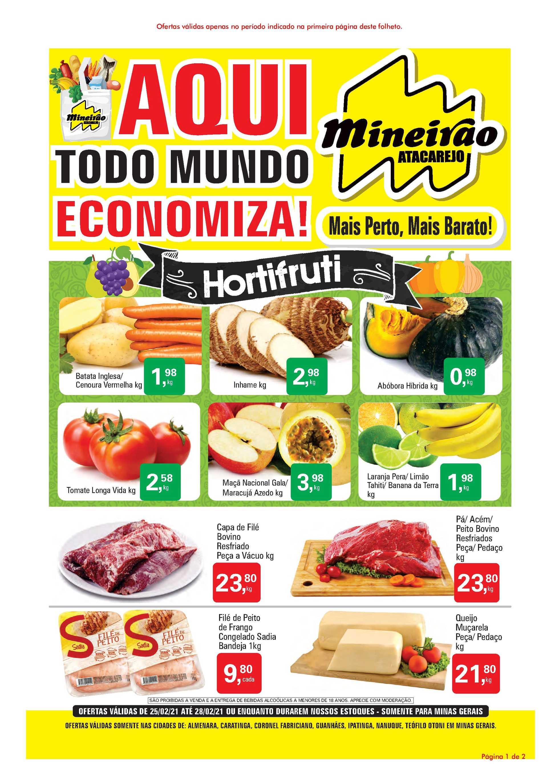 Mineirão Atacarejo - encarte válido de 26.02.2021 até 28.02.2021 - página 1.