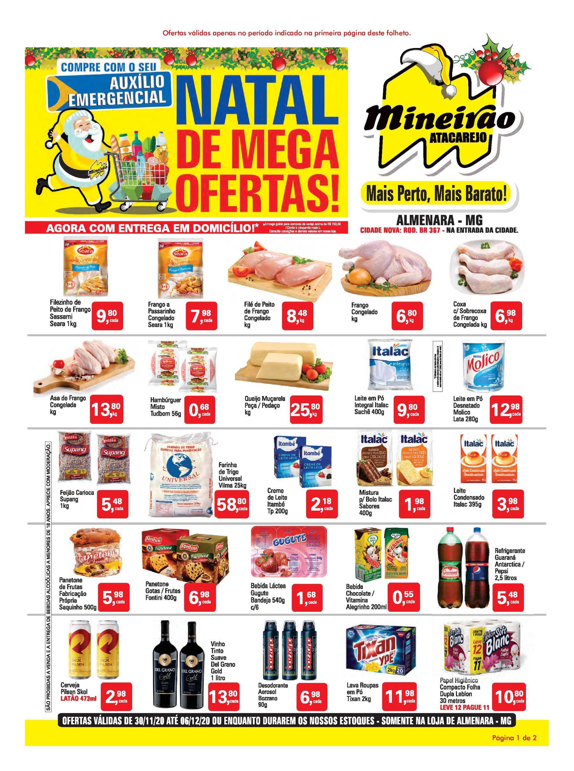 Mineirão Atacarejo - encarte válido de 30.11.2020 até 06.12.2020 - página 1.